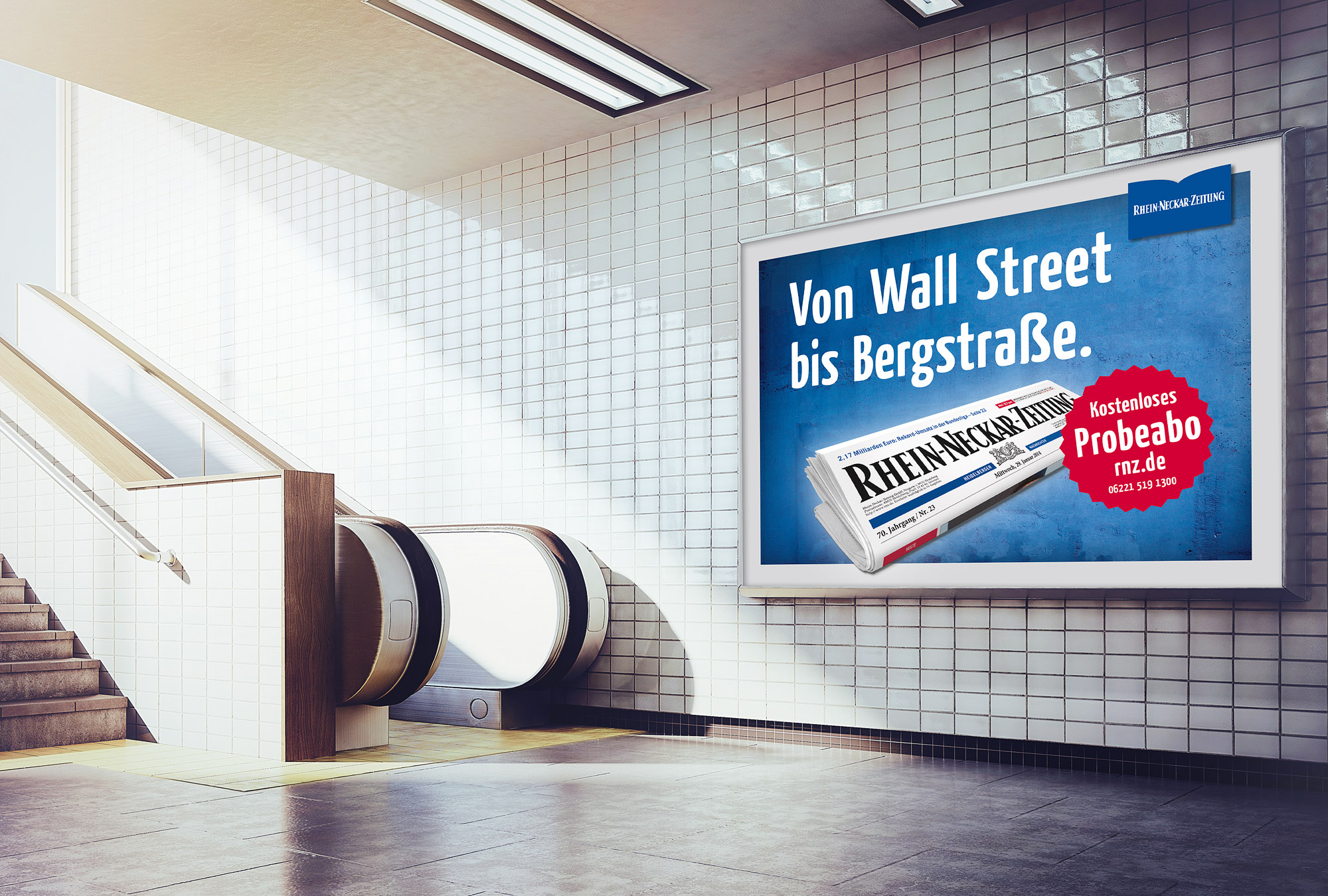 white billboard mockup underground metro with escalator